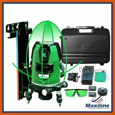 Maxiline 4V1H Green Beam Cross Line Laser Level w Receiver Wall Mount Carry Case