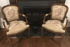 Vintage Chateau D'Ax  French Provincial Tapestry Ornate Carved Arm Chair (2)