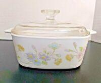 Corning Ware Pastel Bouquet Casserole Dish A-1 1/2-B Pyrex Glass Lid A70 1.5 L