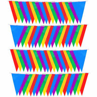 Multicolour Bunting Triangle Flags Polyester Party Rainbow Plastic 50M/100M #HD3