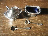 Gewürz Set 2 Stück antike Saliere Salzgefäß Senftopf Löffel blauer Glaseinsatz