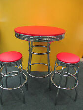 RED BAR SET -  2 STOOLS WITH  BAR TABLE