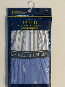Polo Ralph Lauren Boy's Woven Boxer Shorts - 2 Pack - Stripe & Pony Print -Large
