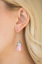 Paparazzi jewelry pink moonstone floral detail white rhinestones earrings nwt