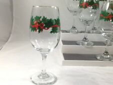 Vintage Libbey Holiday Christmas Garland Red Ribbon Gold Trim Wine Glass