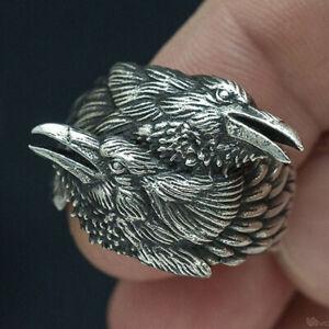 Mens Stainless Steel Biker Viking Odin Crow Bird Raven Ring Antique Silver Band