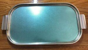 VINTAGE Carefree Brand Tea Tray - Hostess type serving tray Metallic GOLD/GREEN