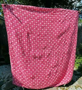 Vintage Red And White Handmade Quilt Rounded Corners Floral Design Bucks County