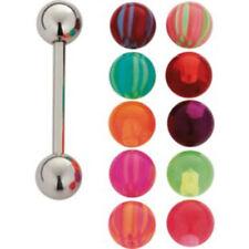 SS Tongue Bar&Interchangeable Balls Set of 11 UV Acrylic Body Jewellery Piercing