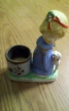 Vtg Jasco 1978 Christmas Luvkins Hand Painted Porcelain Angel With Lamb, Votive