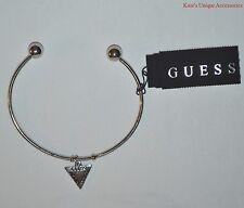 Guess Brand Silver-tone Metal Logo Engraved Triangle Charm Bangle Bracelet NWT