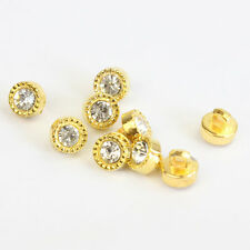 30PCs Gold Crystal Glass Rhinestone Plastic Buttons Scrapbooking Sewing Bottons
