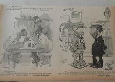 1903 Caricature Humour Chef de Gare Chemins de Fer dessin de Gus Bofa