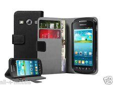 NERO Portafoglio Leather Case Cover Custodia per Galaxy Xcover 2 GT-S7710 (+2 PELLICOLE)