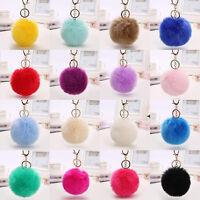 Women Access Genuine Rabbit Fur Ball PomPom Car Keychain Handbag Charm Key Ring