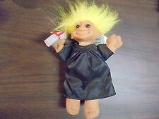 """RUSS """" Black Graduation Gown with Yellow Hair""""  Troll Doll  6"""""""