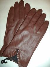 Ladies Ruffle Genuine Leather Gloves,Brown,XXL-See Description for Pictures