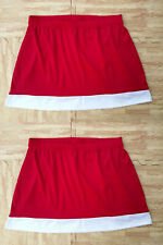 """Sale! 2 New Twin Plus Size Red Stretch Cheerleader Mini Skirts 36-40"""" Cosplay"""
