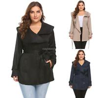 fe82e721123 Women Plus Size Lapel Long Sleeve Short Trench Coat with Belt RLWH