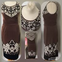 PHASE EIGHT Dress Size UK 12 BROWN | Print Stretch PENCIL Wiggle PARTY Cocktail
