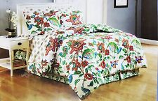Floral Cottage Queen Comforter Sheet Set Reversible Shams Bedskirt 8pc New