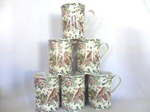 Set of 6 British Birds on clear background china 10oz mugs