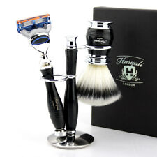 Men Synthetic Badger Shaving Brush 5 Edge Blade Razor & Stand Holder Set Of 3