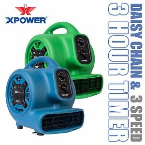 XPOWER P-230AT 800 CFM 3 Speed Mini Air Mover Carpet Dryer Floor Fan Blower