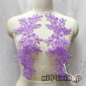 36*11cm, 2PC Flower Embroidered Lace Trim Sewing Applique Dress Decor 6L24