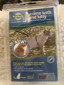 petsafe come with me kitty Cat Harness Bungee Leash Sparkle Blue Medium