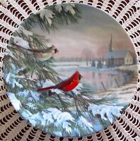 Cardinals In Winter Plate 1st Issue In Birds Of The Seasons Sam Timm 1990 Mint