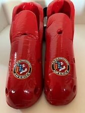 Century Karate Taekwondo Sparring Gear Foot Guards / Red / Adult Sz 11/12