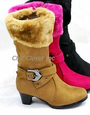 NEW Girls Mid Calf High Heel Faux Fur Boots Suede JR Kids Zipper Pretty shoes