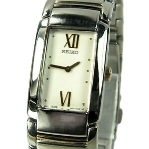 SEIKO women's watch Model 1N00-0EZ0 Silver and gold w/ White Dial (SEE VIDEO)