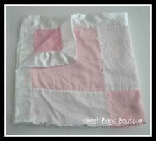ANGEL DEAR Pink White Velboa Satin Plush Baby Blanket