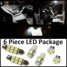 6 White LED interior lights package T10 & 42mm map dome + license plate lamp G2W