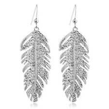 Genuine 18K White Gold GP Austrian Crystal Feather Earrings TI00078