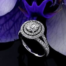 Halo Double Pave 1.65 Carat VS2/H Round Diamond Engagement Ring 14K White Gold