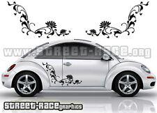 VW Volkswagen Beetle side floral flower stickers 014 graphics decals
