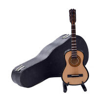 Mini Classic Guitar Miniature Wooden Musical Instruments Model + Support + Case