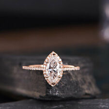 1ct Marquise Cut Diamond Bridal Solitaire Engagement Ring 14k Solid Rose Gold