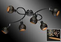 Deckenleuchte schwarz gold Deckenstrahler 6 flammig Wohnzimmer Lampe Strahler