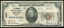 1929 $20 TYPE #2 THE DOMINION NB OF BRISTOL, VA NATIONAL CURRENCY CH. #4477