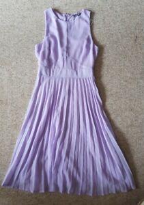 Boohoo Ladies Lilac Kiki Chiffon Pleated Skirt, Midi Skater Dress (UK 10)