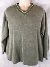 Green & White V-Neck Sweater By Sun River Clothing Size XL  1005 Cotton