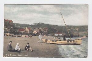 1908 Colour Postcard, Children & Boat  Sandsend, T Watson