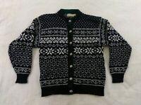 Vintage LL Bean Women Cardigan Sweater Size M Medium Gray Wool Nordic Fair Isle