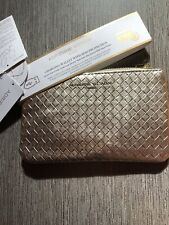 Adrienne Vittadini Studio Clutch Bag Gold Look Woven Detachable Strap