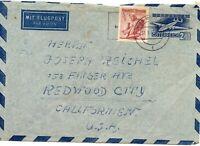 1955 Austria Air Mail Cover to Redwood City USA