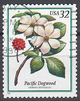 USA Briefmarke gestempelt 32c Pacific Dogwood Blume 1998 Rundstempel / 998